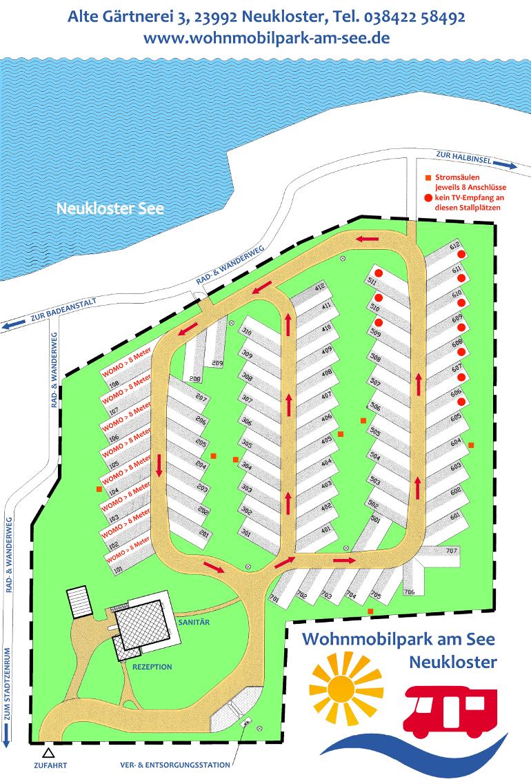 Lageplan Wohnmobilpark am See Neukloster