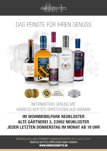 Hinricus Noytes Spirituosen Tasting - Wohnmobilpark am See Neukloster